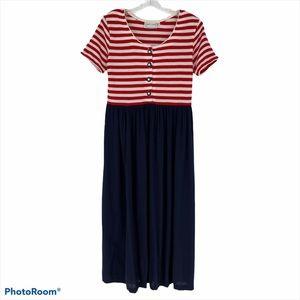 Vintage Misty Lane Red White Blue Dress Sz 8